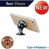 Car Phone Holder Magnetic Mount Universal 360 Rotation Stand Metal Mobile Phone Holder For Car Dashboard Mount for iPhone Samsung Android Smartphones GPS [Black Chrome] set kit  CAR-PHOLDER