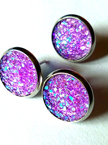 20pairs colorful Druzy Drusy Resin Dome Seals Cabochon Round Earrings (Purple)
