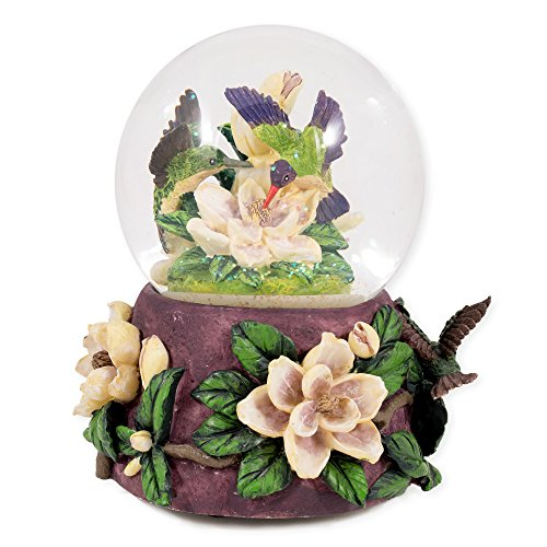 Hummingbirds and Magnolias Glass Musical Snow Globe Plays Song Waltz of the ()
