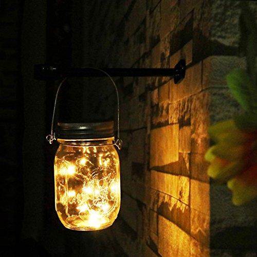 Solar Mason Jar Lights - Led Water-Proof Outdoor Fairy Lights ,Hanging Lights for Garden, Courtyard, Wedding, Party, Bar, Cafe. (Warm)