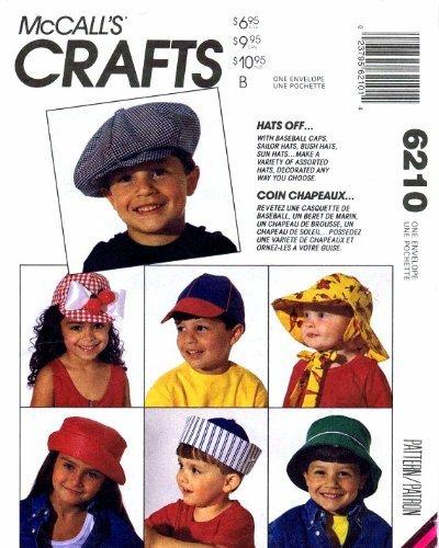 McCall's 6210 Sewing Pattern Childrens Baseball Sailor Bush Sun Hats