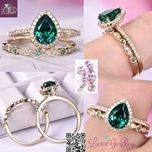 Pear Emerald Ring Bridal Set Art Deco Diamond Band 14k Yellow Gold 6x8mm ()