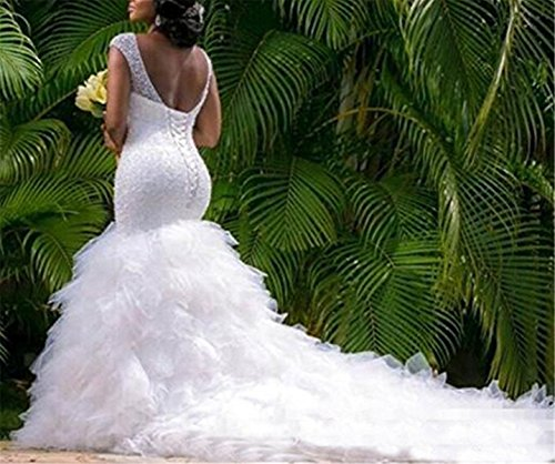 Size Plus Wedding Court with DreHouse Crystal Beaded Women's Ivory Mermaid Dresses Train wIxTv4q1