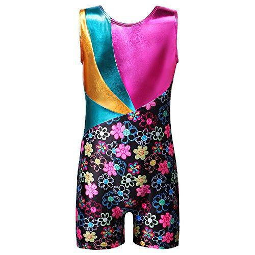 Leotards for Girls Gymnastics with Shorts Biketards Floral Stars Rainbow Blue