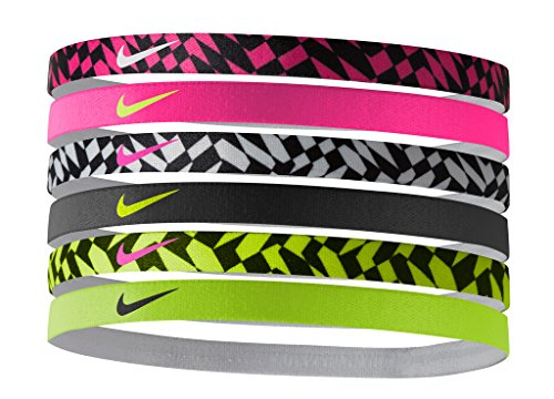 Nike Printed Headbands Assorted 6pk (Pink Pow/Pink Pow/Wh...