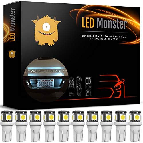 (LED Monster 10x 168 194 T10 5SMD LED Bulbs Car License Plate Lights Lamp White 12V)