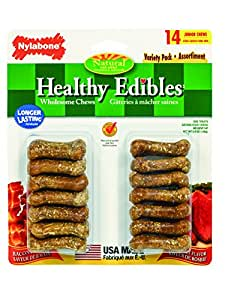 Nylabone Healthy Edibles Mini Bacon and Roast Beef Flavored Variety Pack Dog Treats, 14 Count