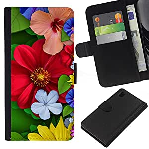 All Phone Most Case / Oferta Especial Cáscara Funda de cuero Monedero Cubierta de proteccion Caso / Wallet Case for Sony Xperia Z1 L39 // Floral Spring Colorful Blossom Red Flowers