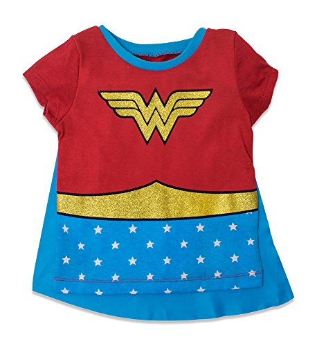 Toddler Superhero Shirts (Wonder Woman Toddler Girls' Costume Tee Shirt with Cape Red (5T))