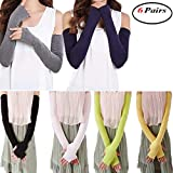 6 Pairs Women Cotton UV Protection Arm Warmer Long Fingerless Gloves Sleeves
