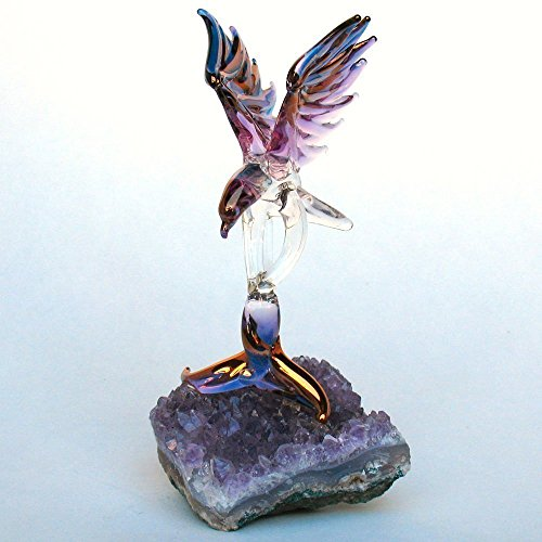 Eagle Figurine of Hand Blown Glass on Amethyst Crystals