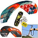 Peter Lynn UNIQ TR 2.5M Single Skin Power Kite Trainer 3-Line Control Bar Bundle (3 items) Includes + WindBone Kite Kitesurfing Lifestyle Decals + WindBone Kiteboarding Key Chain