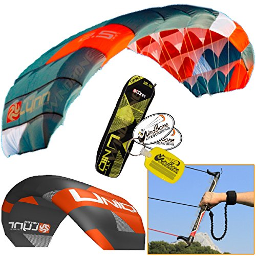 Peter Lynn UNIQ TR 2.5M Single Skin Power Kite Trainer 3-Line Control Bar Bundle (3 items) Includes + WindBone Kite Kitesurfing Lifestyle Decals + WindBone Kiteboarding Key Chain by Peter Lynn, WindBone