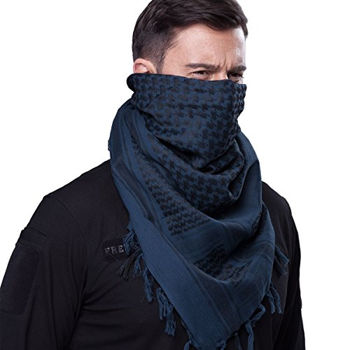 Military Wrap (FREE SOLDIER 100% Cotton Military Shemagh Tactical Desert Keffiyeh Head Neck Scarf Arab Wrap (Blue))