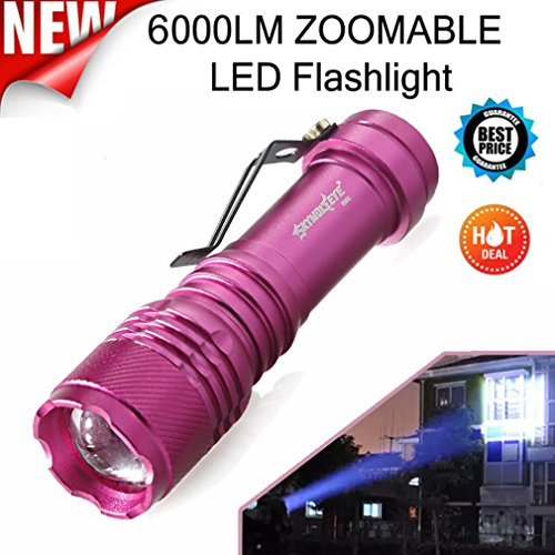 - Quaanti 6000LM CREE Q5 AA/14500 3 Modes ZOOMABLE LED Flashlight Torch Super Bright Dropshipping (Purple)