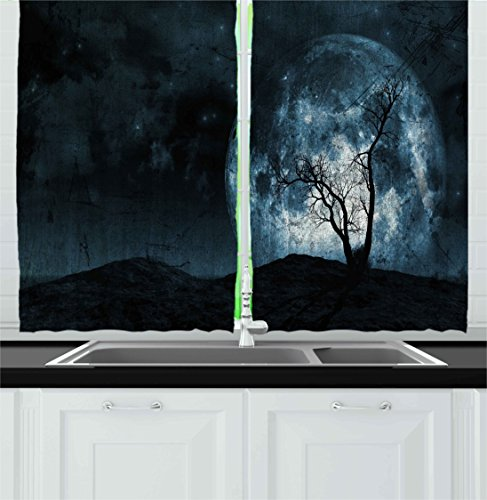 Ambesonne Fantasy Kitchen Curtains, Night Moon Sky with Tree Silhouette Gothic Halloween Colors Scary Artsy Background, Window Drapes 2 Panels Set for Kitchen Cafe, 55W X 39L inches, Slate Blue