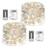 Kyпить YIHONG 2 Set Fairy String Lights Battery Operated Waterproof 8 Modes Twinkling 50 LED String Lights 16.4FT Copper Wire Firefly Lights Remote Control for Bedroom Wedding Festival Decor (Daylight White) на Amazon.com