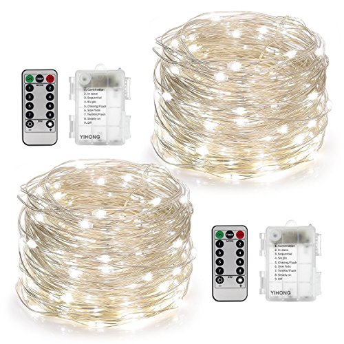 YIHONG 2 Set Fairy String Lights Battery Operated Waterproof 8 Modes Twinkling 50 LED String Lights 16.4FT Copper Wire Firefly Lights Remote Control for Bedroom Wedding Festival Decor (Daylight (Which Day Is Halloween)