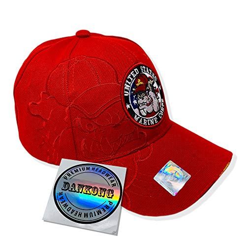 - DANKONG U.S. Marine Hat -Official Licensed US Military 3D Embroidered Baseball Cap with Size Adjustable Hoop and Loop Closure for Men and Women - Bulldog Chesty Cirlce Logo - Red