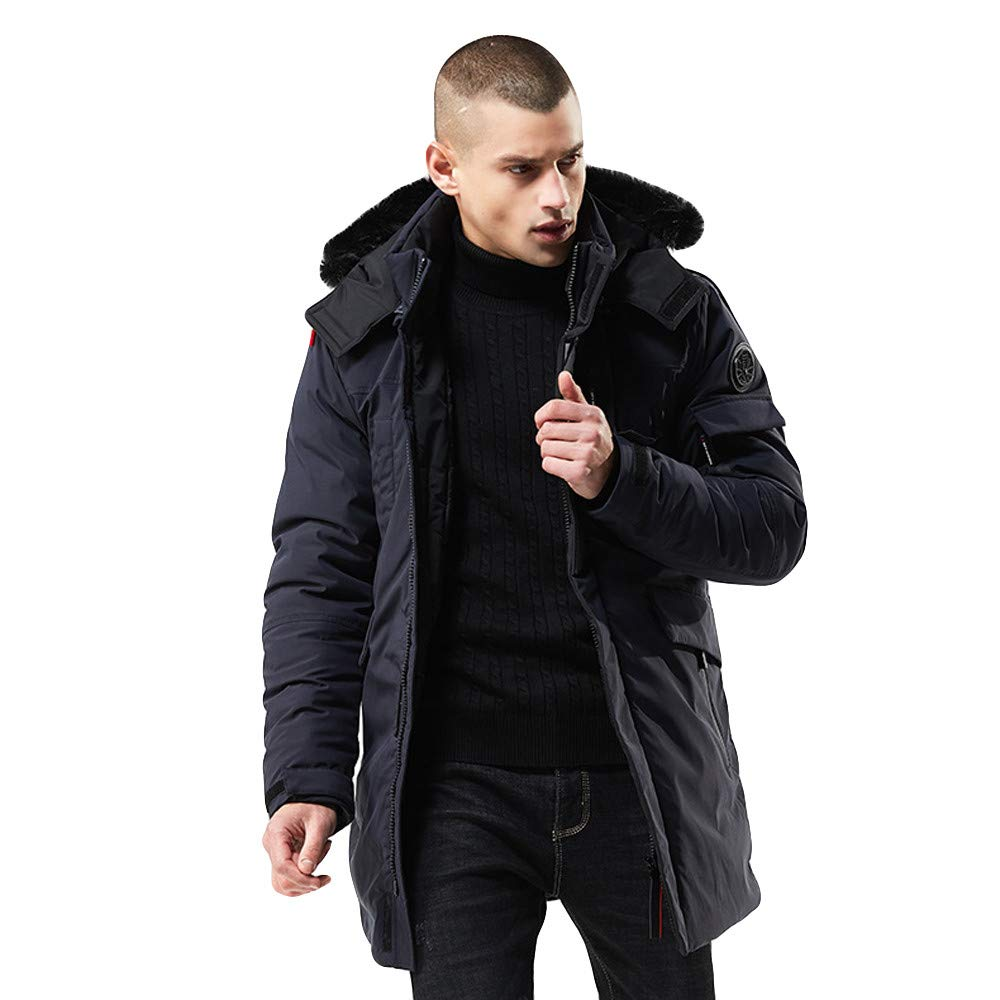 Rain Trench Coat Mens Waterproof with Hood.Mens Winter Medium Length Zipper Hoodie Thickened Wind Proof Cotton Outwear Coat