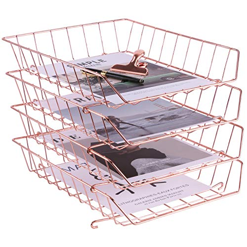 Simmer Stone Stackable Letter Tray, 4-Tier Desk File Organizer for Mails, Magazines, Documents and Accessories, Wire Paper Tray for Home, School and Office, Rose Gold