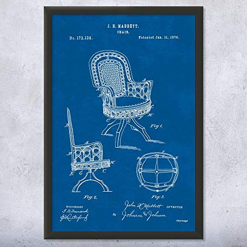 Framed Rattan Chair Print, Wicker Chair, Patio Furniture, Designer Gift, Furniture Maker, Vintage Chair, Retro Furniture Blueprint (9