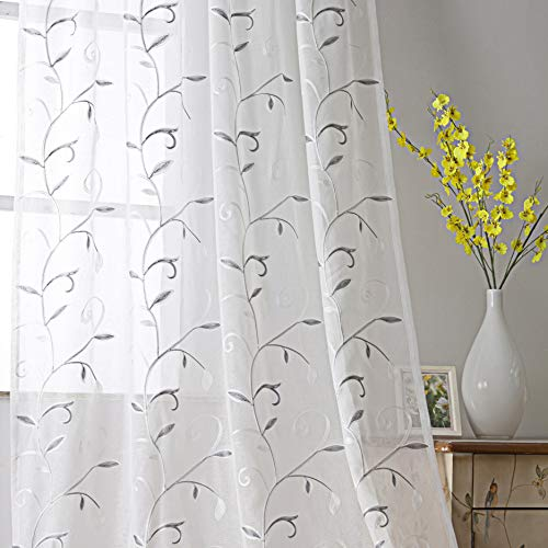 VISIONTEX Sheer White Curtains Embroidered with Gray Wavy Leaves Rod Pocket for Bedroom Set of 2 Panles, 54 x 95 inch
