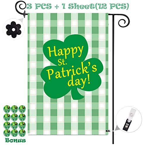 Happy St. Patrick's Day Shamrock Clover Garden Flag Banner Vertical Double Sided,Spring Buffalo Check Plaid Rustic Farmhouse Polyester Flag Sign w/ Stopper &Clip Yard Indoor/Outdoor Decor 12 x 18 Inch from NimJoy