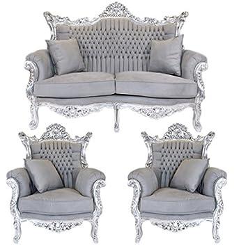 Casa Padrino Barock Wohnzimmer Set Master Grau/Silber   2er Sofa + 2 Sessel