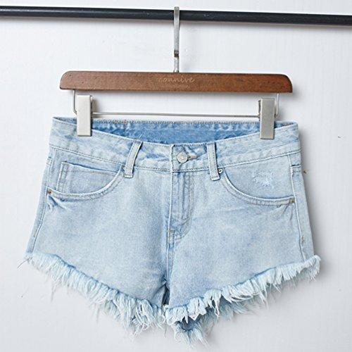 Pants Nappa Stretch Moda Estate Mini Tasche Hot Jeans Sfilacciato Dooxii Casuale Denim Donna Pantaloncini Skinny Azzurro Con vAnzO0wq