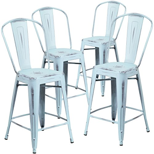 Free 4 Pk. 24'' High Distressed Dream Blue Metal Indoor-Outdoor Counter Height Stool with Back