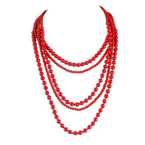 PearlPlus Fashion Statement Multi Strand Bead Red Imitation Turquoise Long Beaded Chain Necklaces for (Beaded Long Chain Necklace)