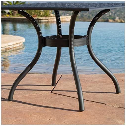 Garden and Outdoor Christopher Knight Home Hallandale Cast Aluminum Outdoor Dining Set, 5-Pcs Set, Black Sand patio dining sets