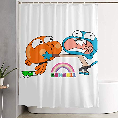 LETEPRO 60 X 72 Inch The Amazing World of Gumball Brother Shower Curtain Set, Fabric Bath Curtains Bathroom Decor Set with Hooks
