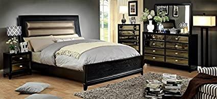 Amazon.com : 5 pc Golva collection black Finish Wood Queen ...