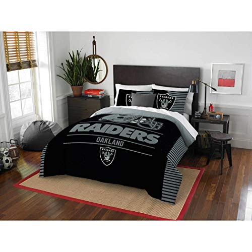 3 Piece NFL Raiders Comforter Full Queen Set, Black Grey Multi Football Themed Bedding Sports Patterned, Team Logo Fan Merchandise Athletic Team Spirit Fan, Polyester, for Unisex