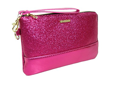 New Juicy Couture Logo Wristlet Top Zip Charging Cosmetics Bag Case Purse Pink (Juicy Cosmetic Bag)