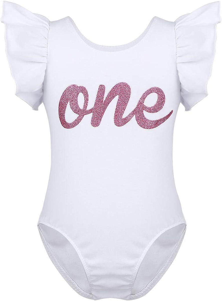 dPois Baby Boys Girls Short Sleeves Letter ONE First 1st Birthday Romper Bodysuit Golden Crown One Year Old Birthday Shirt