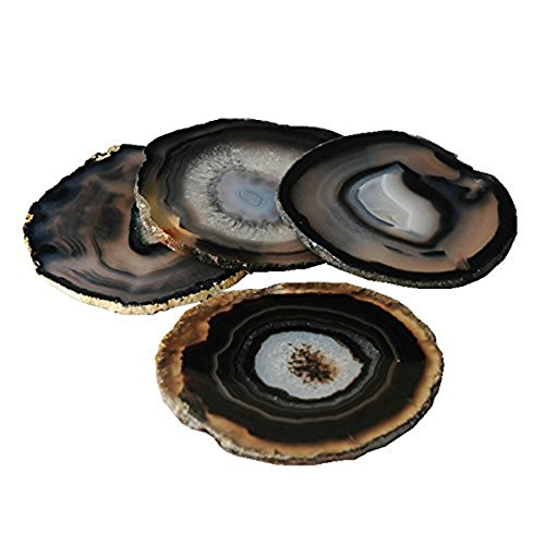 JIC Gem Set of 4 Black Dyed Brazilian Agate Coasters with Rubber Bumpers (Quality 1) 3.5 Inches to 4 Inches
