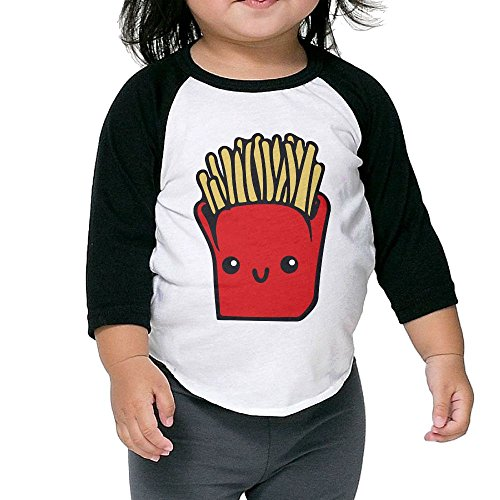 Susuha French Fries A Child's Sleeve Shoulder Shirt 5-6 - Kissing Girls Black French