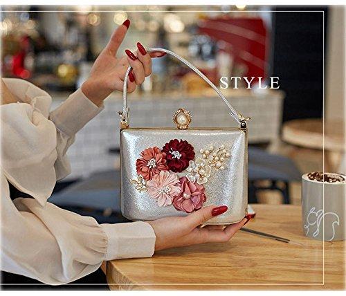 Embragues Hombro Oro Ruiyue Bolso Monedero Terciopelo De Diamante Bolsa Cerrad Partido Mujeres Cristal Embrague Flores Del Las Noche Silver La Bolsas rtxtz7q0X