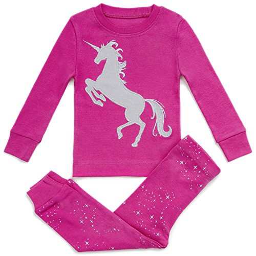 (SUPER SOFT UNICORN 2 PIECE PAJAMA SET 100% COTTON+2 FREE GIFTS, Pink / Grey, 4)