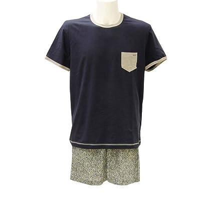 Cagi Azul Impresas con Marino Cortos Pantalones Hombre Pijama de 6 Azul Verano gxfgAr