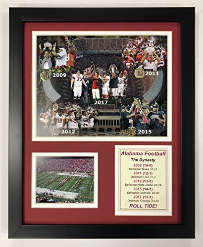 Legends Never Die NCAA Alabama Crimson Tide 2017 Football Dynasty Framed Photo Collage, 12 x 15