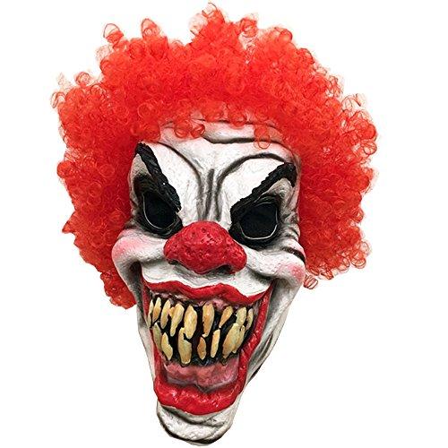 Dhakar Scary Clown Mask Joker Cosplay Costume Latex Mask (red&white) -
