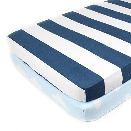 Pack N Play Playard Sheet Set - 2 Pack - Fitted, Soft Jersey Cotton Portable Crib Sheet - Baby Bedding in Blue Stripes & Clouds by Mumby