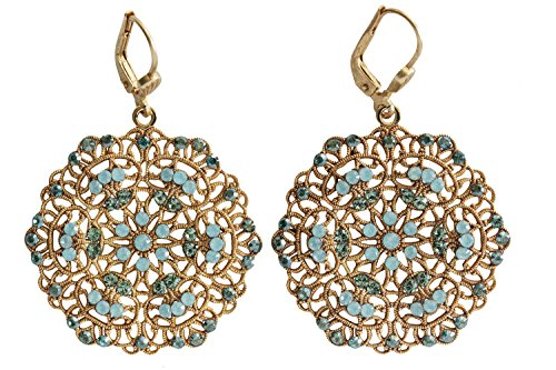 Catherine Popesco Goldtone Filigree Lace Medallion Earrings, Pacific Blue Teal 9702G