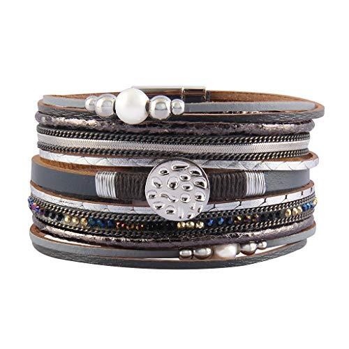 (Jenia Women Leather Cuff Bracelet Pearl Braided Wrap Bracelets Charm Snowflake Cuff Bangle Handmade Jewelry for Girls, Mother, Wife, Ladies Gift)