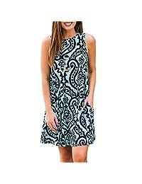 YF Women Casual Printed Loose Tunic Sleeveless Swing Pockets T-Shirt Summer Dress