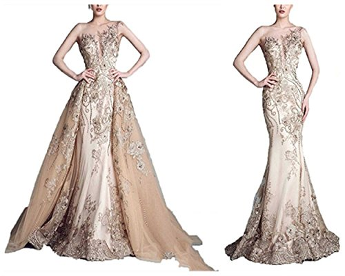 Homdor Long Mermaid Detachable Wedding Dresses Beaded Applique Formal Prom Gowns